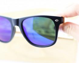Square Vintage Wood Eyewear BLUE - Sunglasses - SUN 14