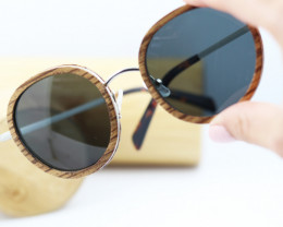 Oval Polarized Wood in Wooden - Sunglasses - SUN 17