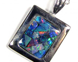 0.90 CTS MOSAIC TRIPLET SILVER PENDANT MYG 1285