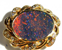 5 CTS Red Fire Black Opal set in 18k Gold Pendant SCO 725