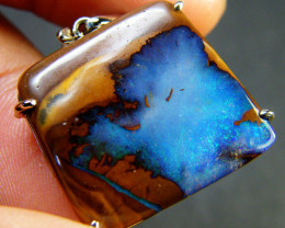 27.20 CTS BEAUTIFUL BOULDER OPAL 18K W/GOLD PENDANT 27.2 CTS SCA1695