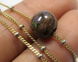 1.5 CTS 8MM BOULDER ON 3 GRAM ITALIAN 18 K GOLD CHAIN CF205