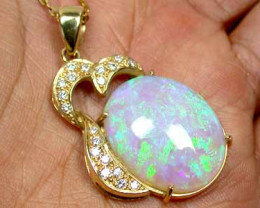 15 CTS CRYSTAL OPAL GREEN FIRE FLASH WITH INCLUSIONS 18K GOLD PENDANT SCO11