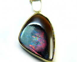 15 CTS BEAUTIFUL BOULDER OPAL 18K GOLD PENDANT SCA1698