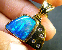 6.20 CTS BEAUTIFUL BOULDER OPAL 18K GOLD PENDANT SCA1696