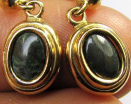 1 CT ANDAMOOKA BLACK OPAL 18K GOLD EARRINGS CK 42