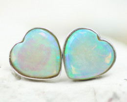 2.2 CTS Gem Quality Heart 10K White Gold Opal Earrings - OPJ 2649