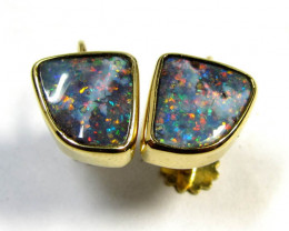 5.6 CTS BOULDER OPAL 18K GOLD SCREW ON EARRING SCO963