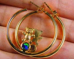 CUTE TEADDY BEAR OPAL 18K GOLD EARRINGS CJ 1046