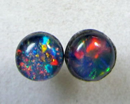 4x4 MM TRIPLET OPAL STERLING SILVER EARRINGS CF 420
