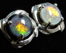 Cute Triplet opal earrings silver Pl 1085