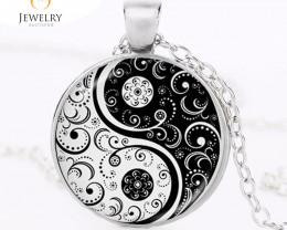 yin yang necklace tai ji shape black and white OPJ 2590