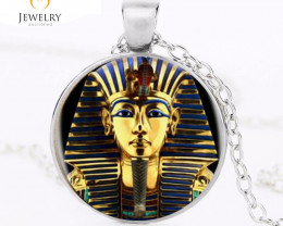 King Tut Logo Pendant Necklace Tutankhamun Golden Kin OPJ2648