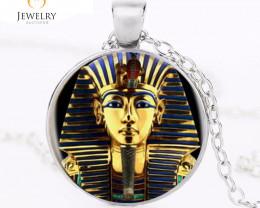 King Tut Logo Pendant Necklace Tutankhamun Golden Kin OPJ2649