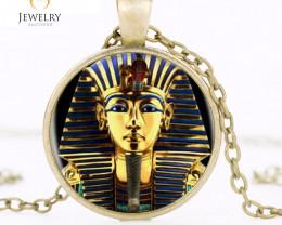 King Tut Logo Pendant Necklace Tutankhamun Golden Kin OPJ2656