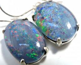 Sheppard hook Triplet opal earrings silver Pl1074