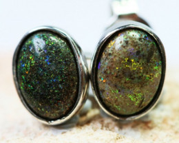 1 CT Solid Opal set in silver Earrings BU1321