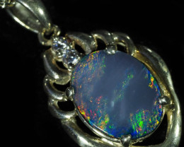 1.1 CT Cute Doublet opal pendant in sterling silver QO2915