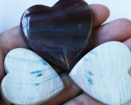 315 CTS Three Heart Shape Jasper Beads BU1550