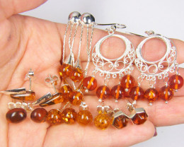 SIX BALTIC AMBER SILVER EARRINGS 81 TCW MYG 1084