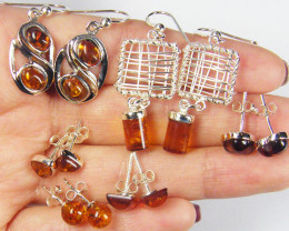 SIX BALTIC AMBER SILVER EARRINGS 70 TCW MYG 1073