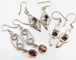 Garnet set in three Silver Earrings MJA 986
