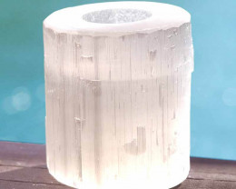 1 x Natural Shaped Selenite Tealight Candle Holder