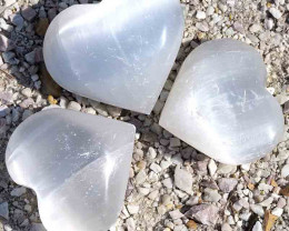 3 x Selenite Heart Palm Stones