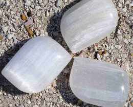 3 x Selenite Palm Stones