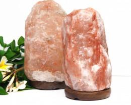 2 x 2-3kg Himalayan Salt Lamp Pack – Timber Base
