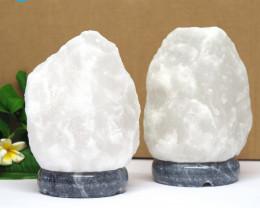 2 x 2-3kg White Himalayan Salt Lamp – Marble Base