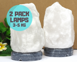 Natural Pack White Himalayan Salt Lamp – Marble Base 3-5kg