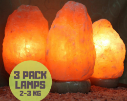 3Pack Himalayan Salt Lamp Pack – Marble Base 2-3kg