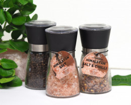 3 x  Pack Himalayan Salt, Chilli Salt  and Pepper Pack (Glass Grinders)