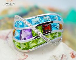 14K White Gold Multi Stones & Diamond Jewelry Set Ring,earrrings ,Pendant