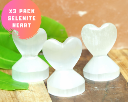 3 x Selenite Small Heart Shape