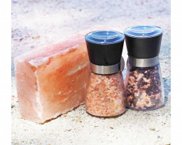 Himalayan Salt Cooking Block (Small) + 2 Glass Ceramic Grinders