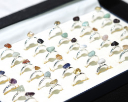 x36 set Tumbled Raw Gemstone Silver Plated Rings BR 868