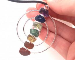 Seven Chakra - natural stones - Infinite design Pendant - BR 1087a