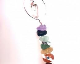 Seven Chakra - natural stones - Infinite Spiral pendant  BR 2484