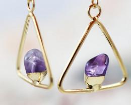 Earth Design Polished Amethyst Gemstone G/P Earrings BR 2687