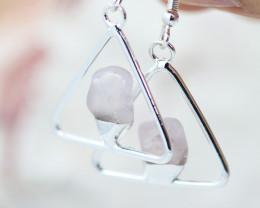Earth Design Polished Rose Quartz Gemstone Earrings BR 2696