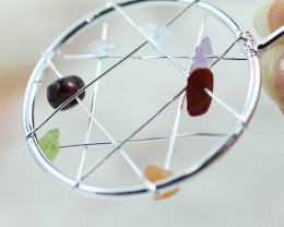 Seven Chakra - natural stones - Dream Catcher pendant BR 2718