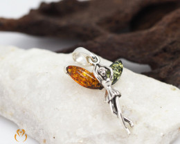 Baltic Amber Fairy Pendant Sale, direct from Poland AM 1254