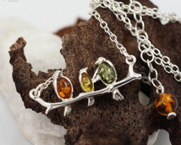 Baltic Amber Sale,Birds on branch Necklace , AM1286