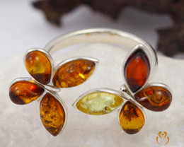 Baltic Amber Sale,Silver Ring size R, direct from Poland AM 1295