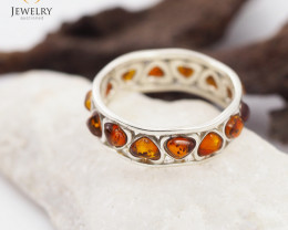 Baltic Amber Sale,Silver Ring size N, direct from Poland AM 1302