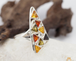 Baltic Amber Sale, Multi Ring  size T, direct from Poland AM 1305