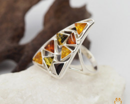 Baltic Amber Sale, Multi Ring  sizeN direct from Poland AM 1306