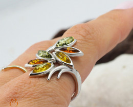 Baltic Multi Amber Sale, Silver Ring Size N code RN 169